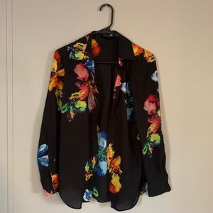 MOSSIMO Floral Button Up Long-sleeve Blouse